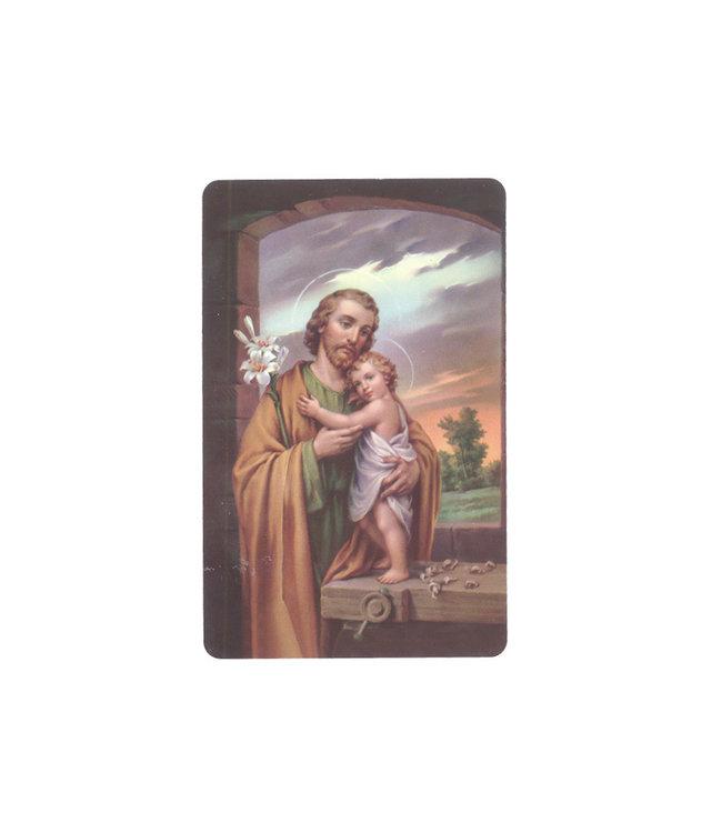 Carte plastifiée avec prière en français Saint Joseph