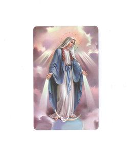 Carte plastifiée avec prière en français, Vierge Immaculée FRA900