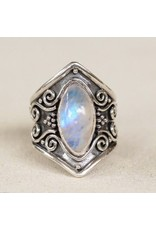 SS Opalite Marquise Wide Band Ring