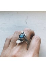 Hammered Silver Tone Crescent Moon Ring - Labradorite