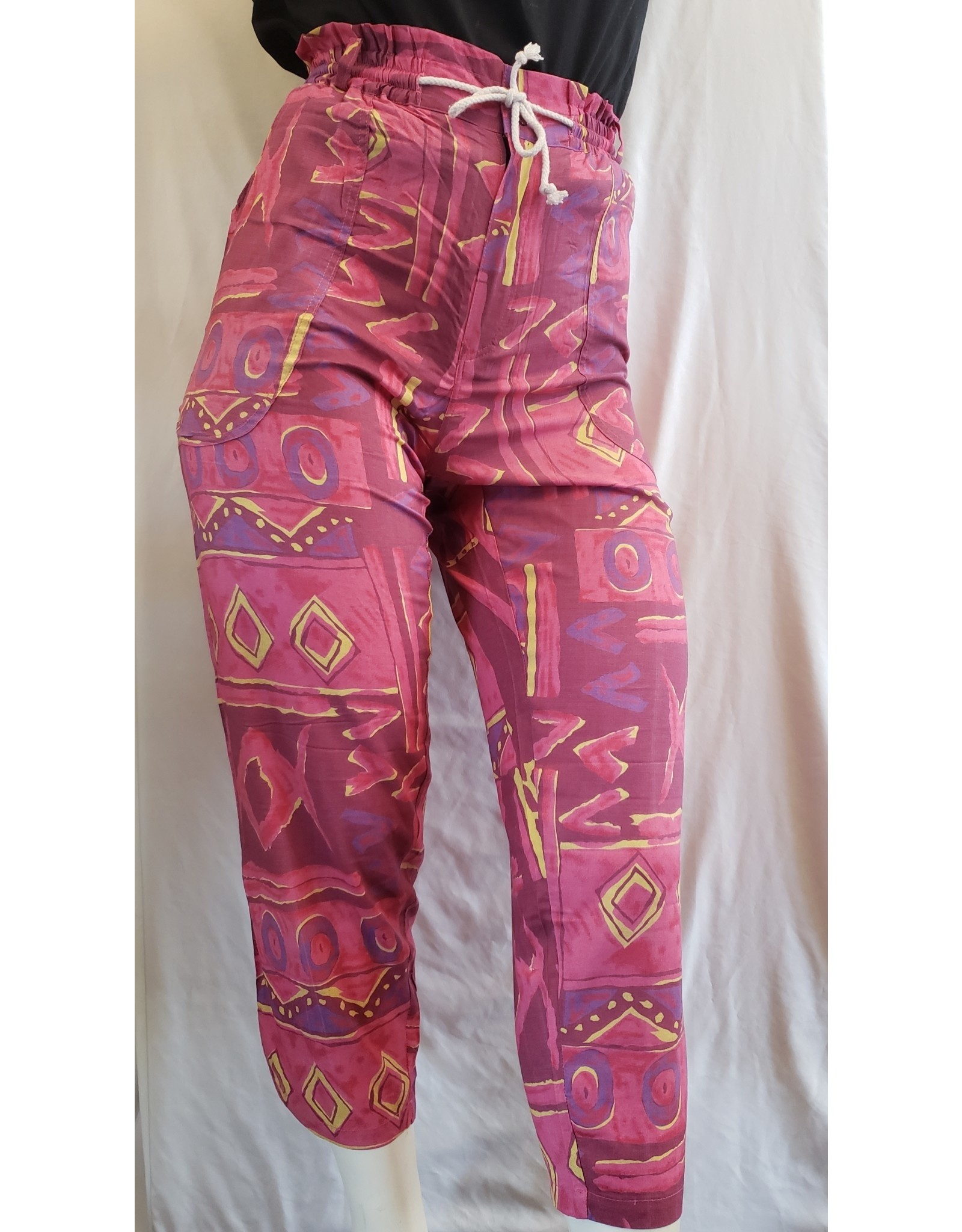 Patchwork Drawstring Pants