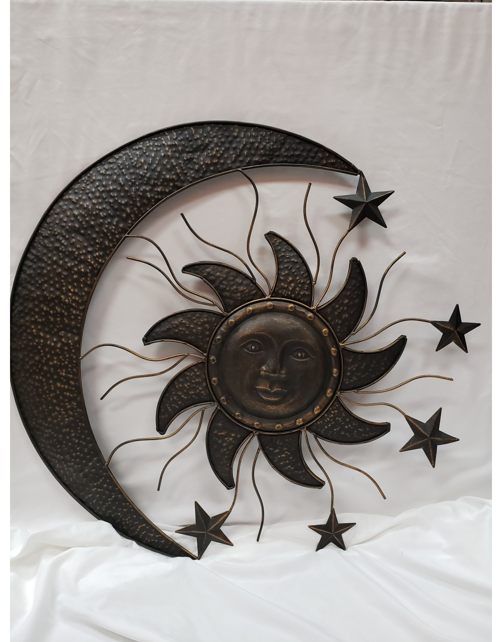 Metal Pewter Sun And Moon Wall Decor