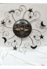 Metal Sun Face with Moon and Stars Wall Decor