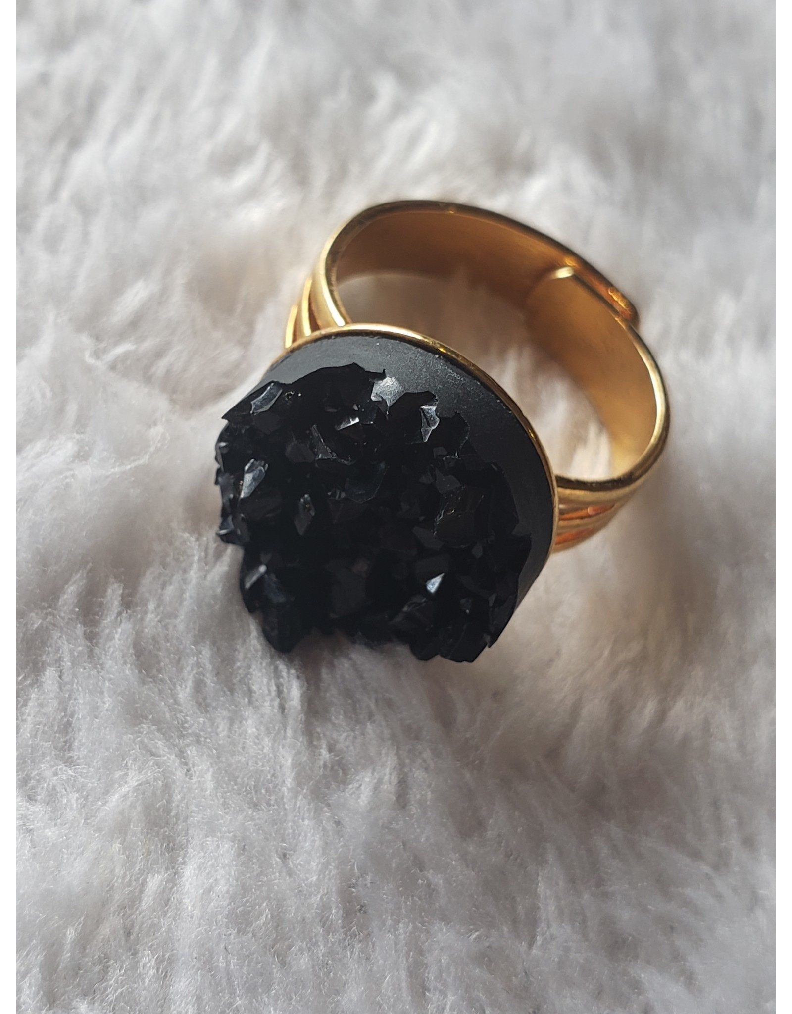 Angel Vaughan Black Druzy Ring Gold Band