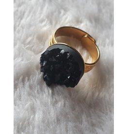 Angel Vaughan Black Druzy Ring Gold Band