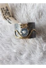 SS & Gold Band W/ Blue Topaz - Size 9