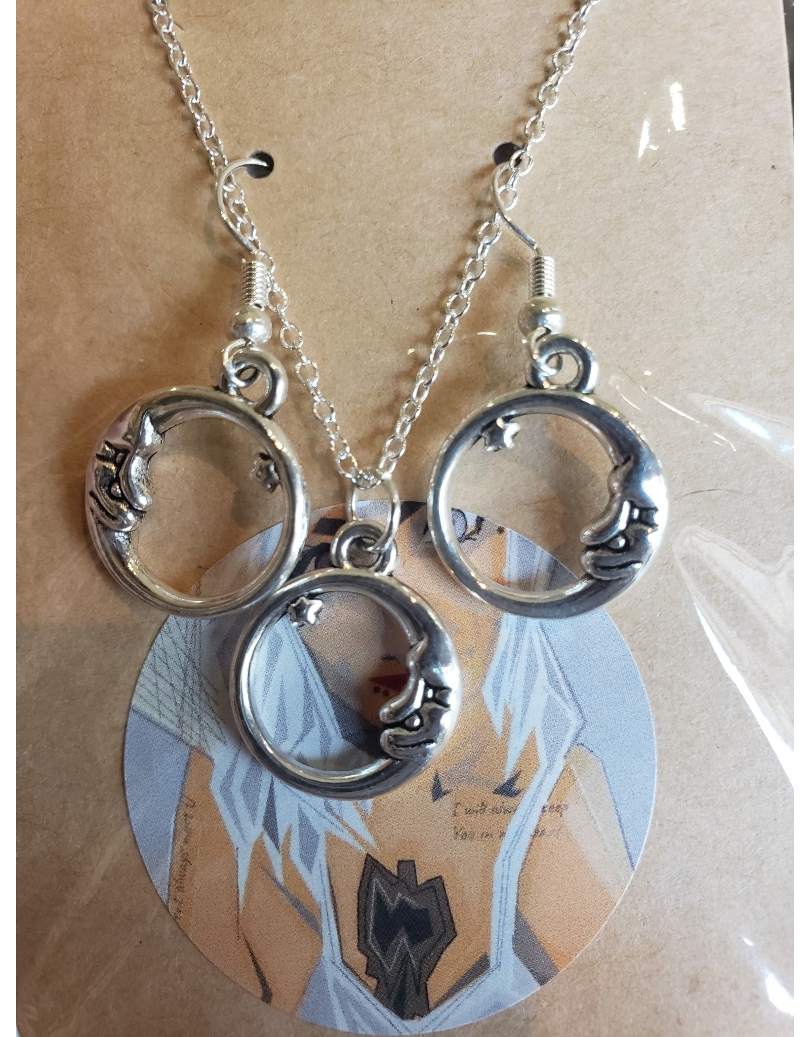 Angel Vaughan Circle Moon Earrings & Necklace