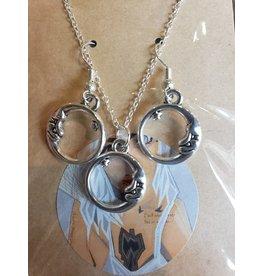 Angel Vaughan Circle Moon Earrings & Necklace
