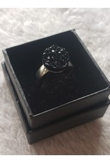 Angel Vaughan Black Druzy Silver Ring
