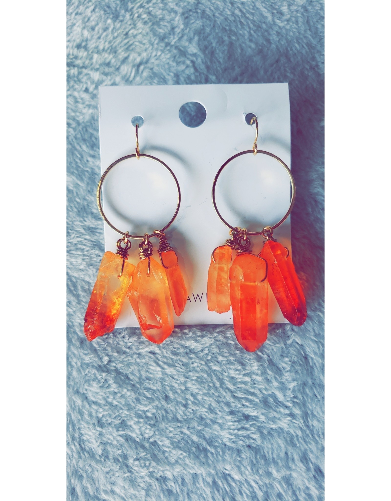 Dani Awesome Quartz Cluster Earrings - Fire