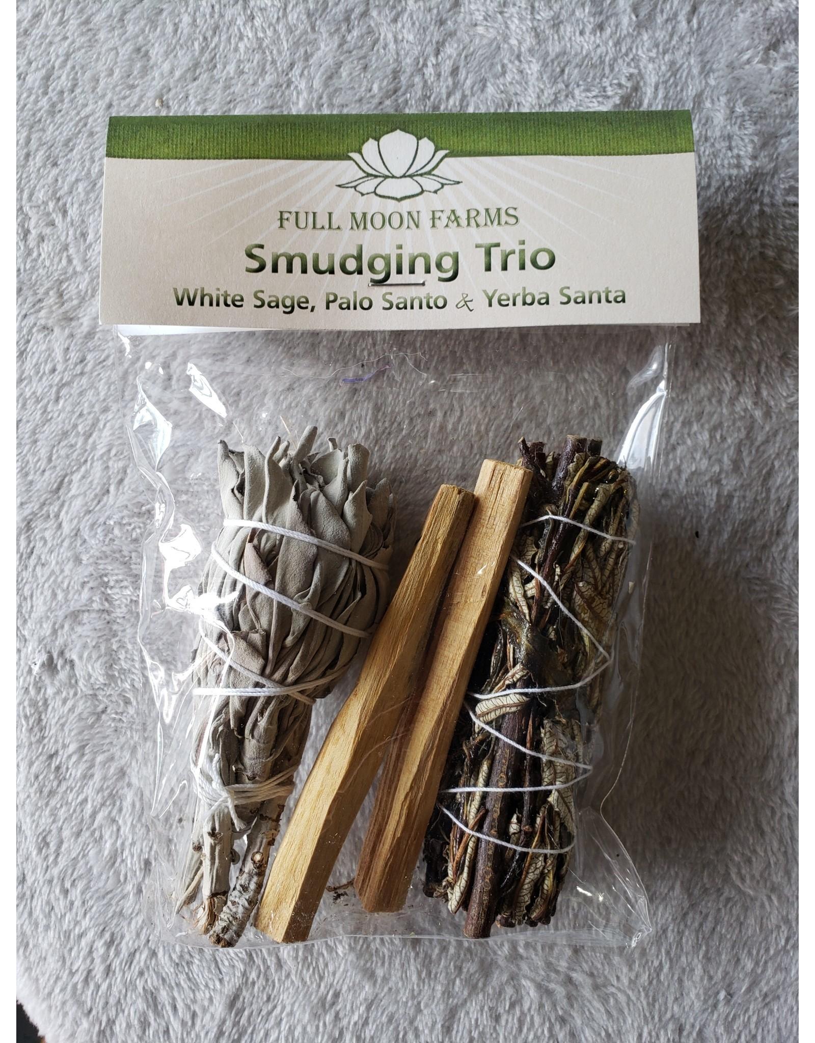 Full Moons Farms Smudging Trio   White Sage, Palo Santo, Yerba Santa