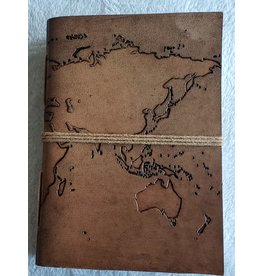 Soothi World Map - Handmade Journal - Blonde/Tan