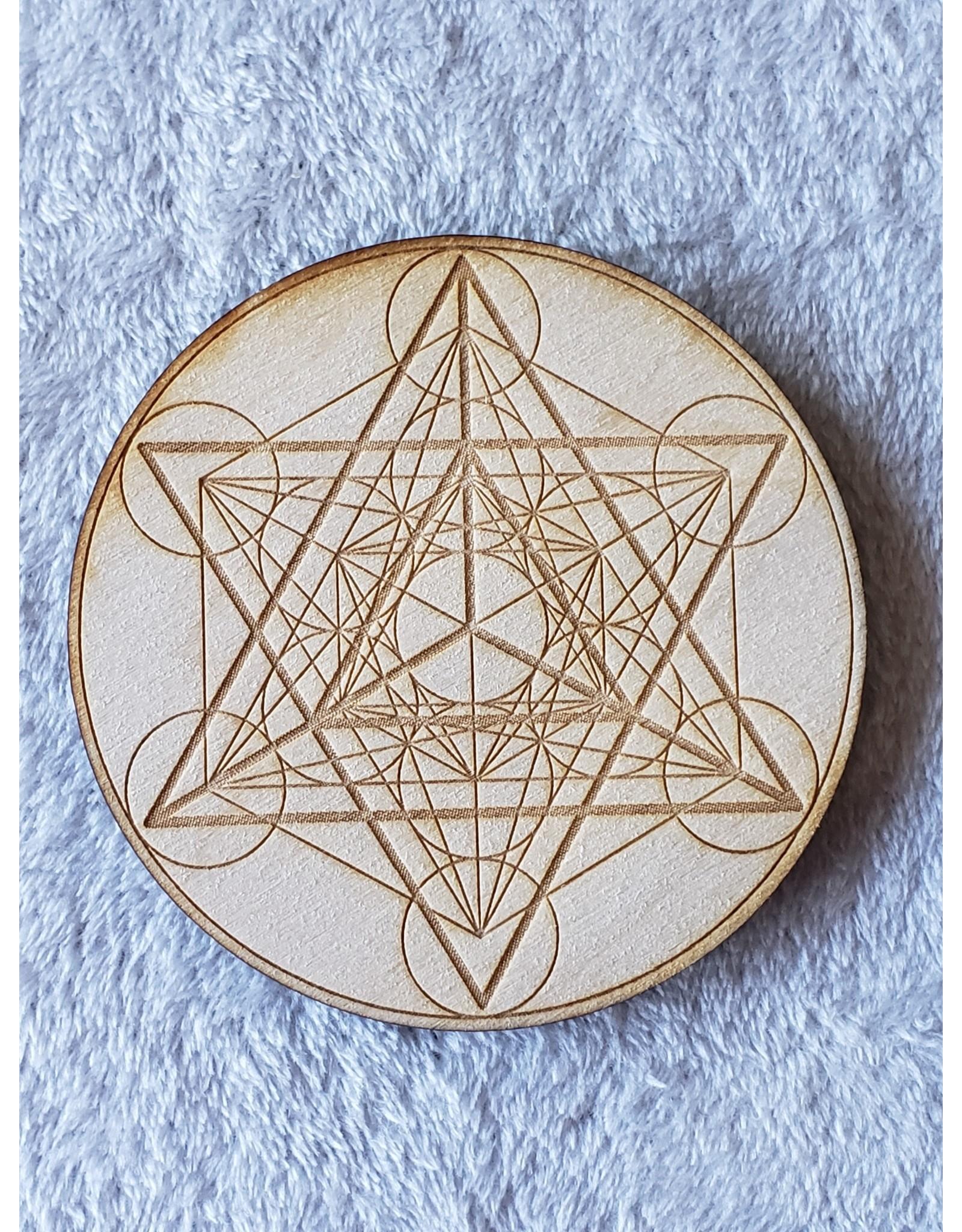 "Zen and Meow Merkaba Metatron's Cube Crystal Grid - 4"""