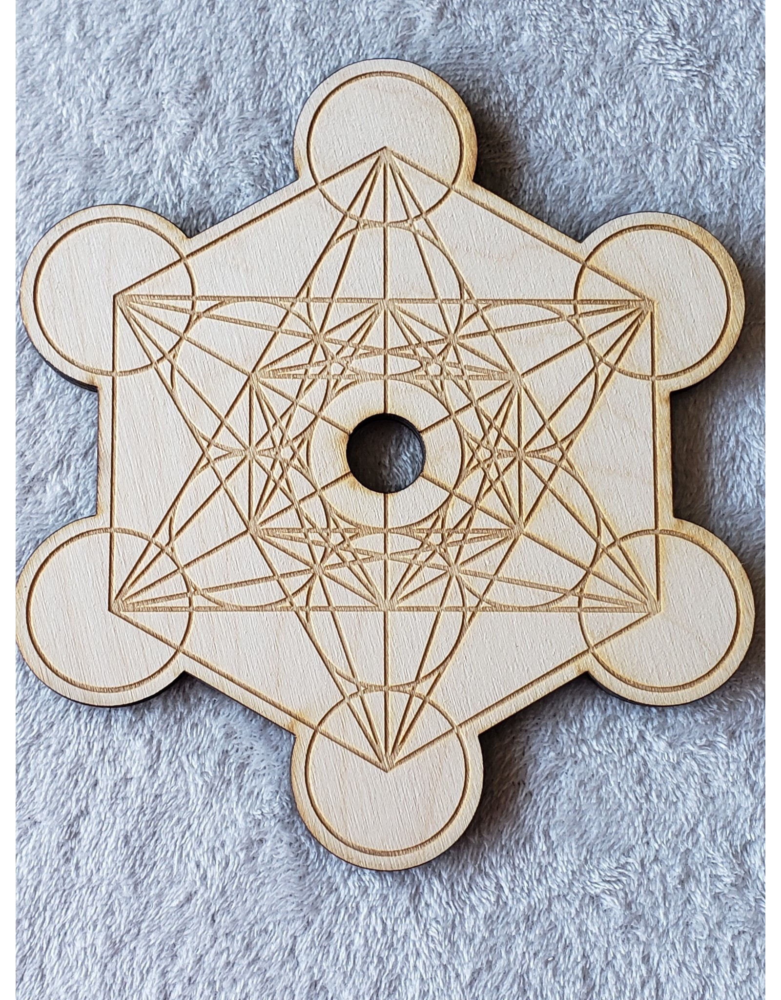"""Zen and Meow Metatron's Cube 2 Sphere Holder Crystal Grid - 8"""""""