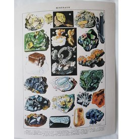 Curious Prints Vintage Natural  History French Minerals Print - 8x10