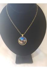 Unique Art Pendants Night Bat Brass Necklace