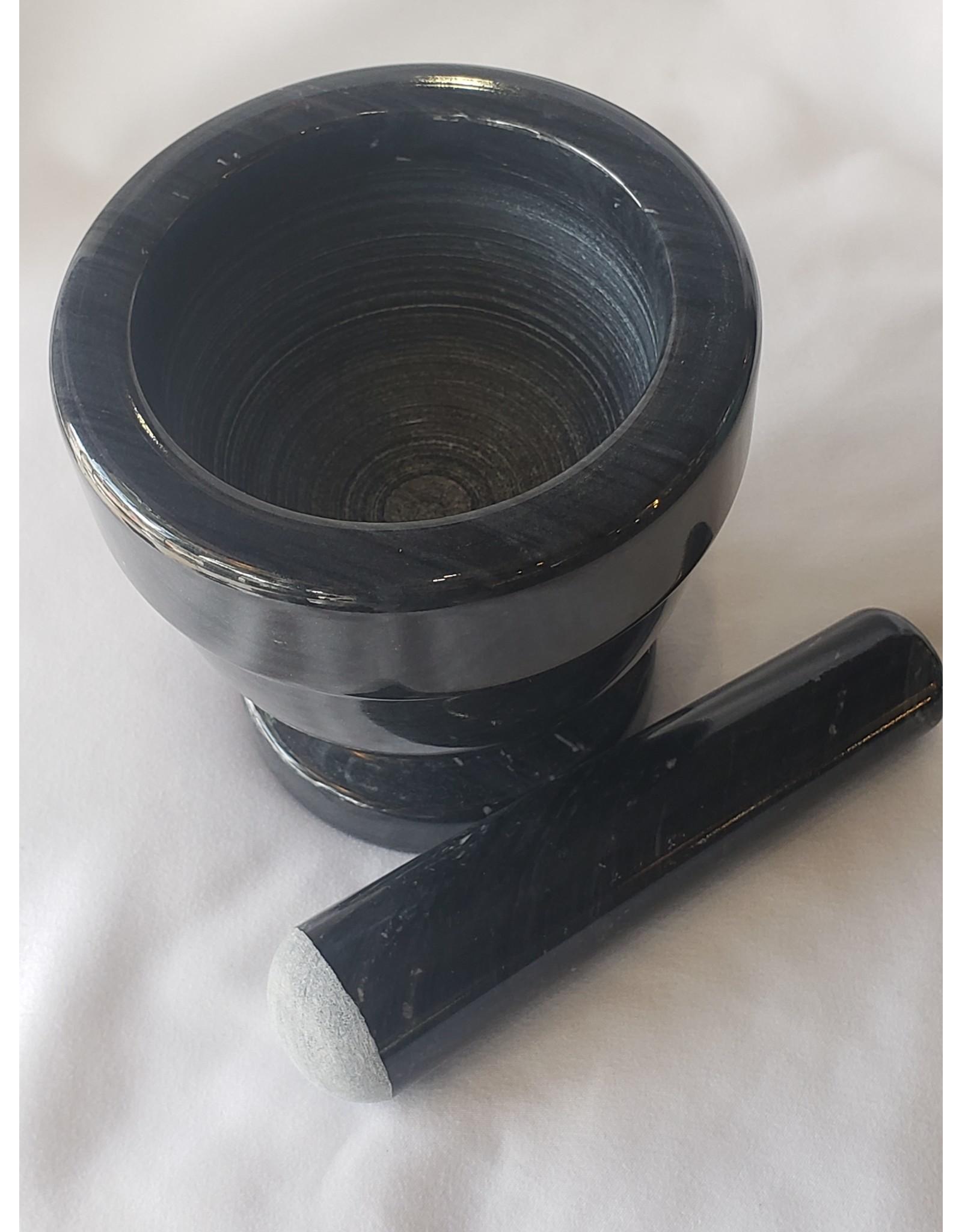 "Greener Things Mortar & Pestle - Black Marble 4"""