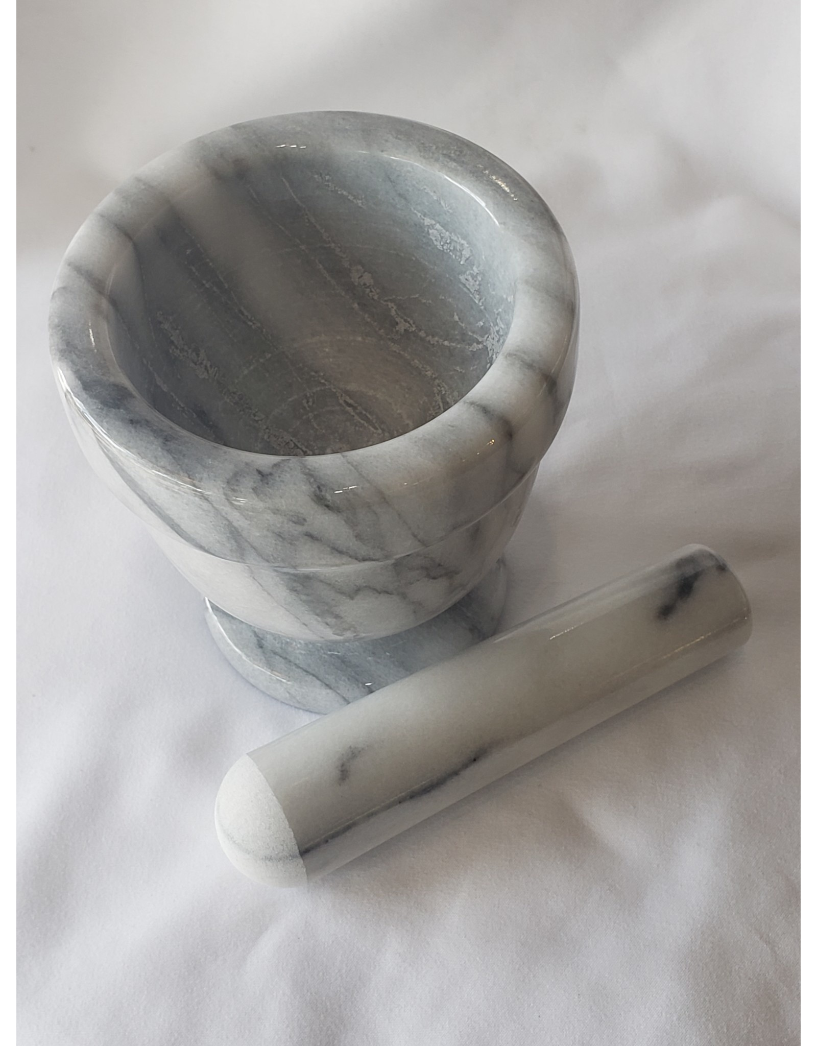 "Greener Things Mortar & Pestle - White Marble 4"""