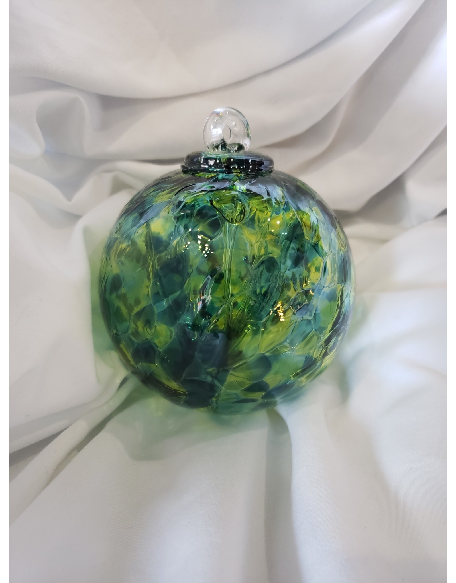 Iron Art Glass Small Witch Ball - Jade