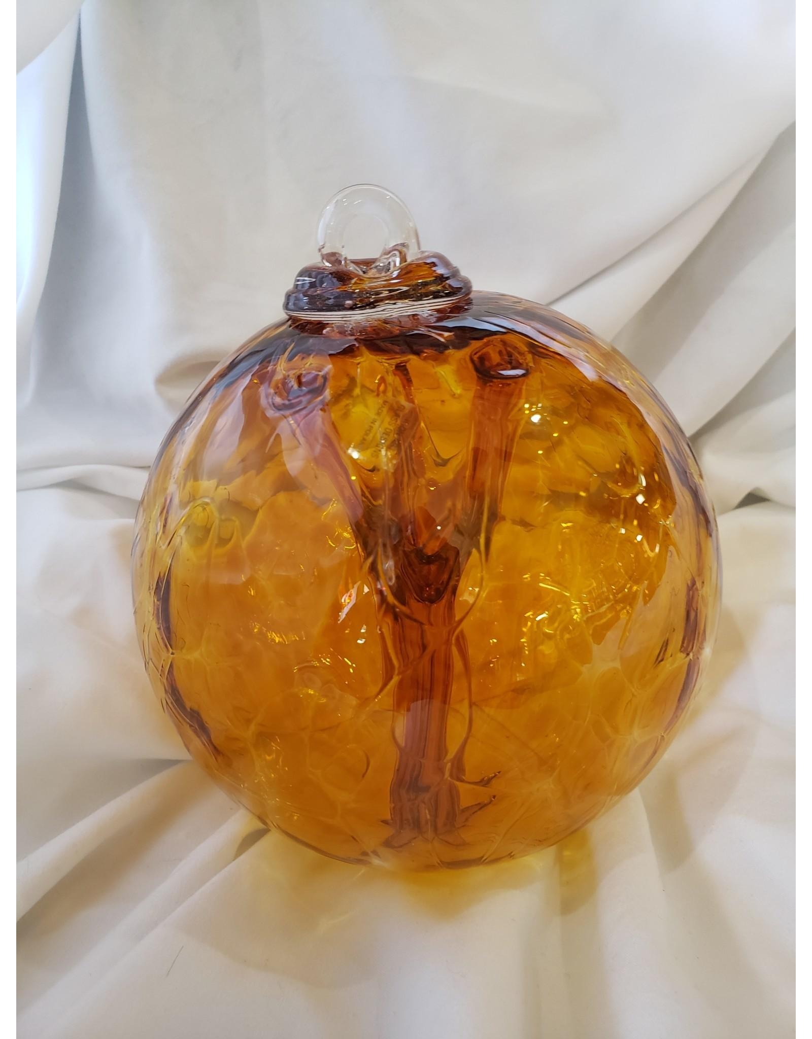 Iron Art Glass Witch Ball - Gold Topaz