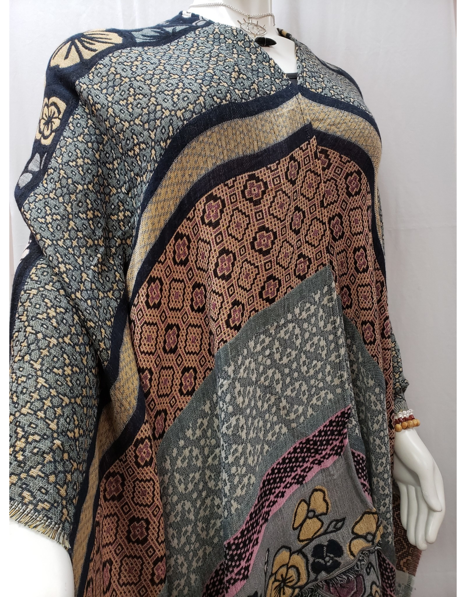 Oriental Floral Inspired Woven Transitional Ruana - Navy Gray