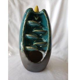 Ceramic Backflow Incense Burner | Blue | Cascading Leaves