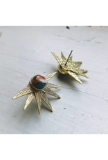 Gold Sun Goddess Earrings w/ Oyster Turquoise