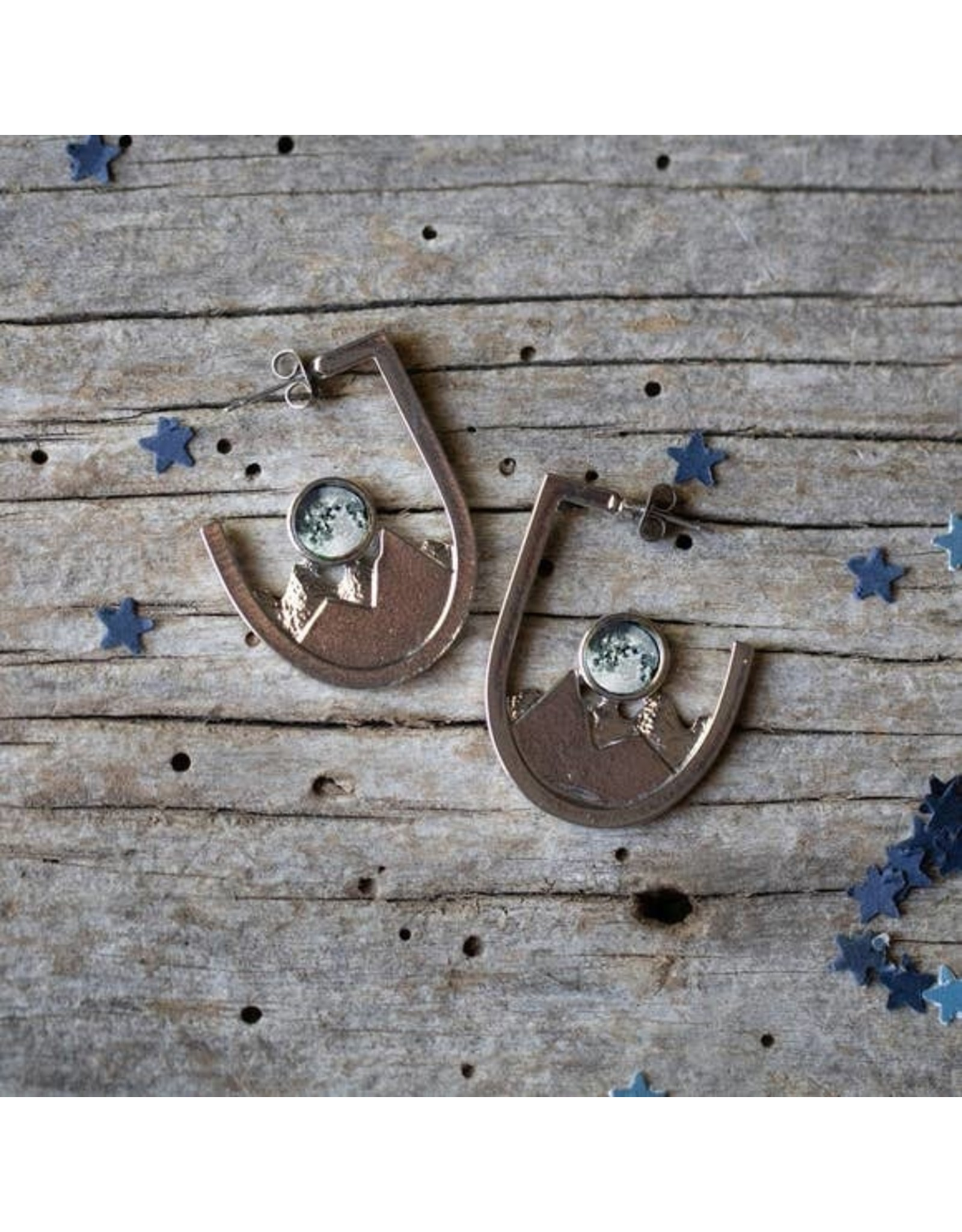 Mountain Range Galaxy Earrings - Earths Moon