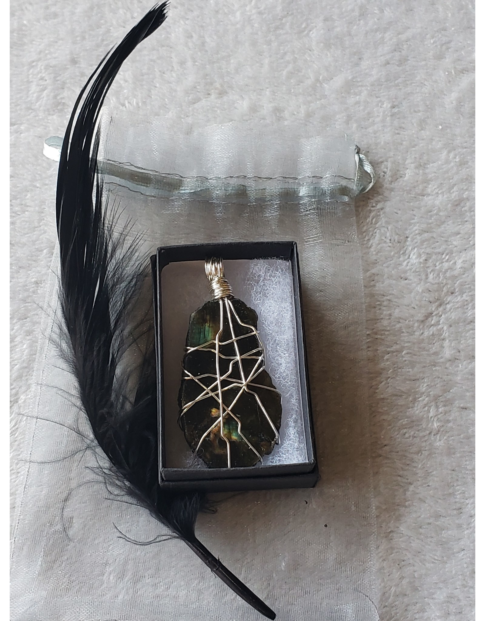 Angel Vaughan Wire Wrapped Large Labradorite Pendent