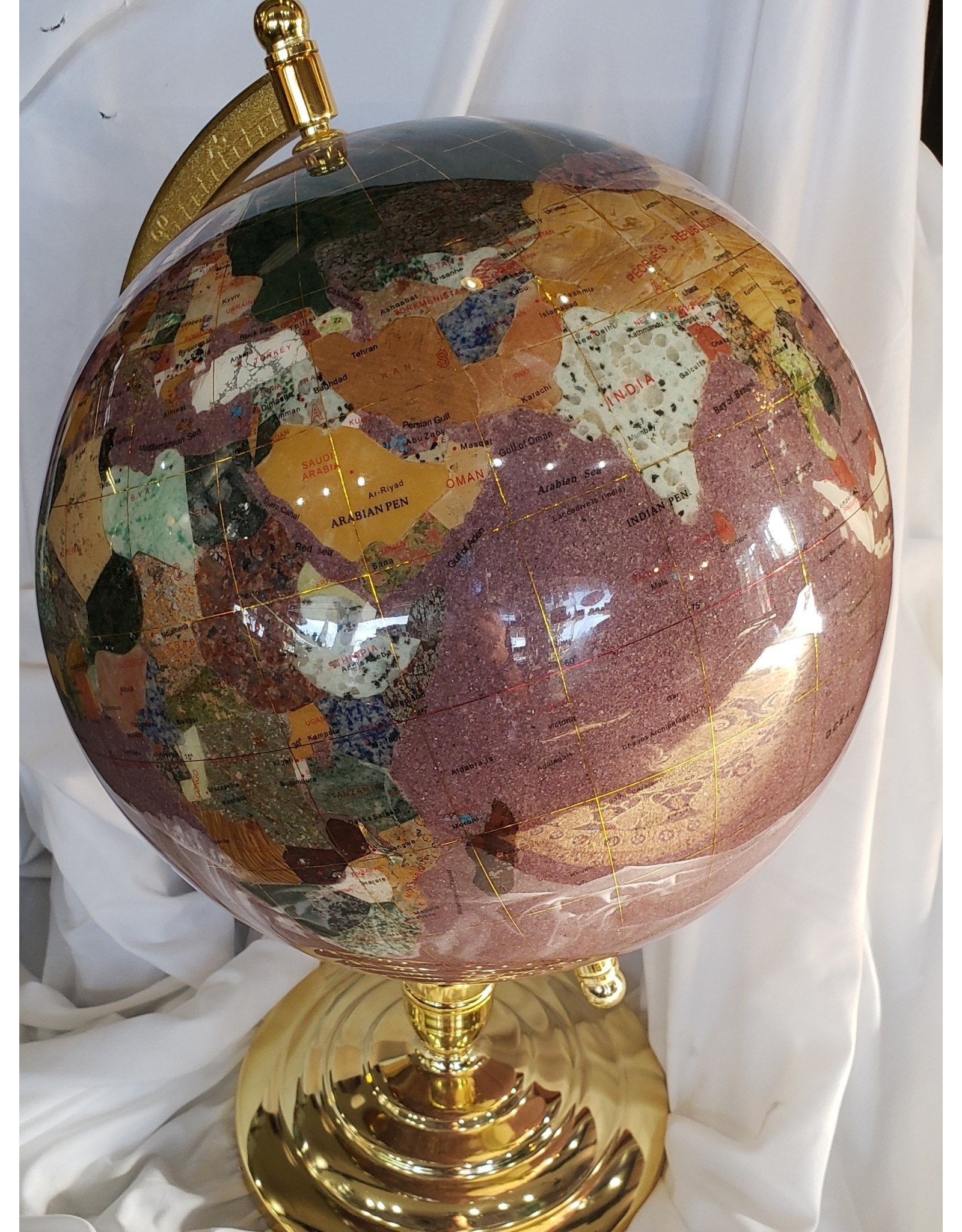 Gemstone Inlay Globe