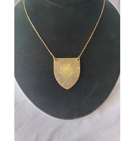 Tiny Anvil Etched Emblem Sun Necklace
