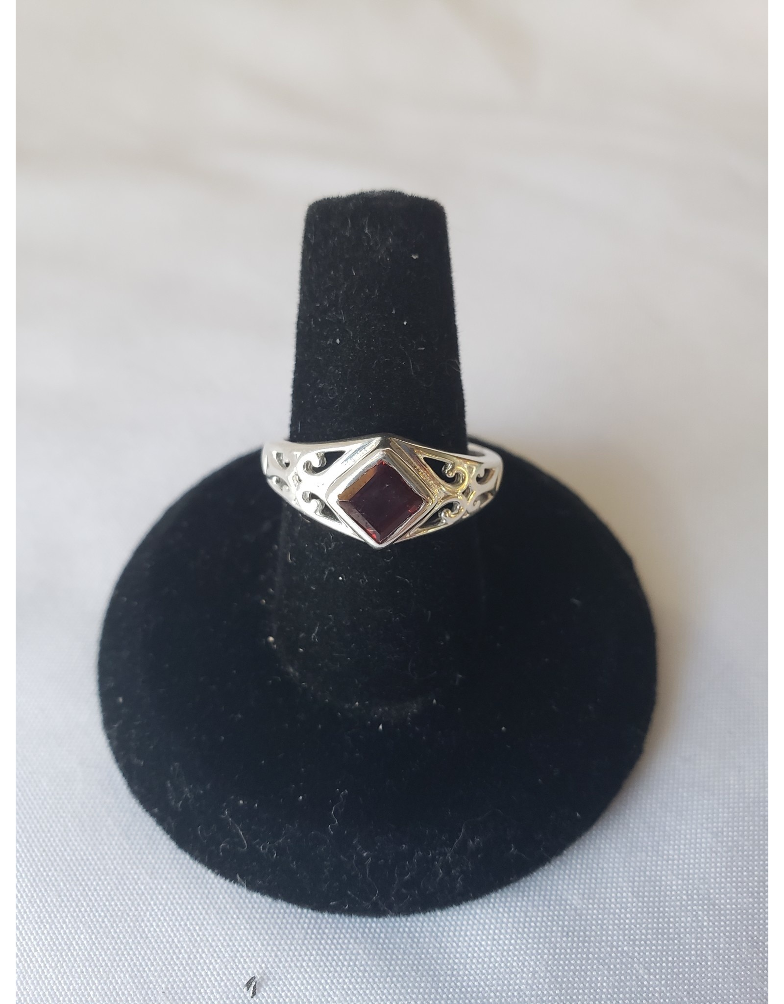 Sterling Silver - Garnet Ring Size 7