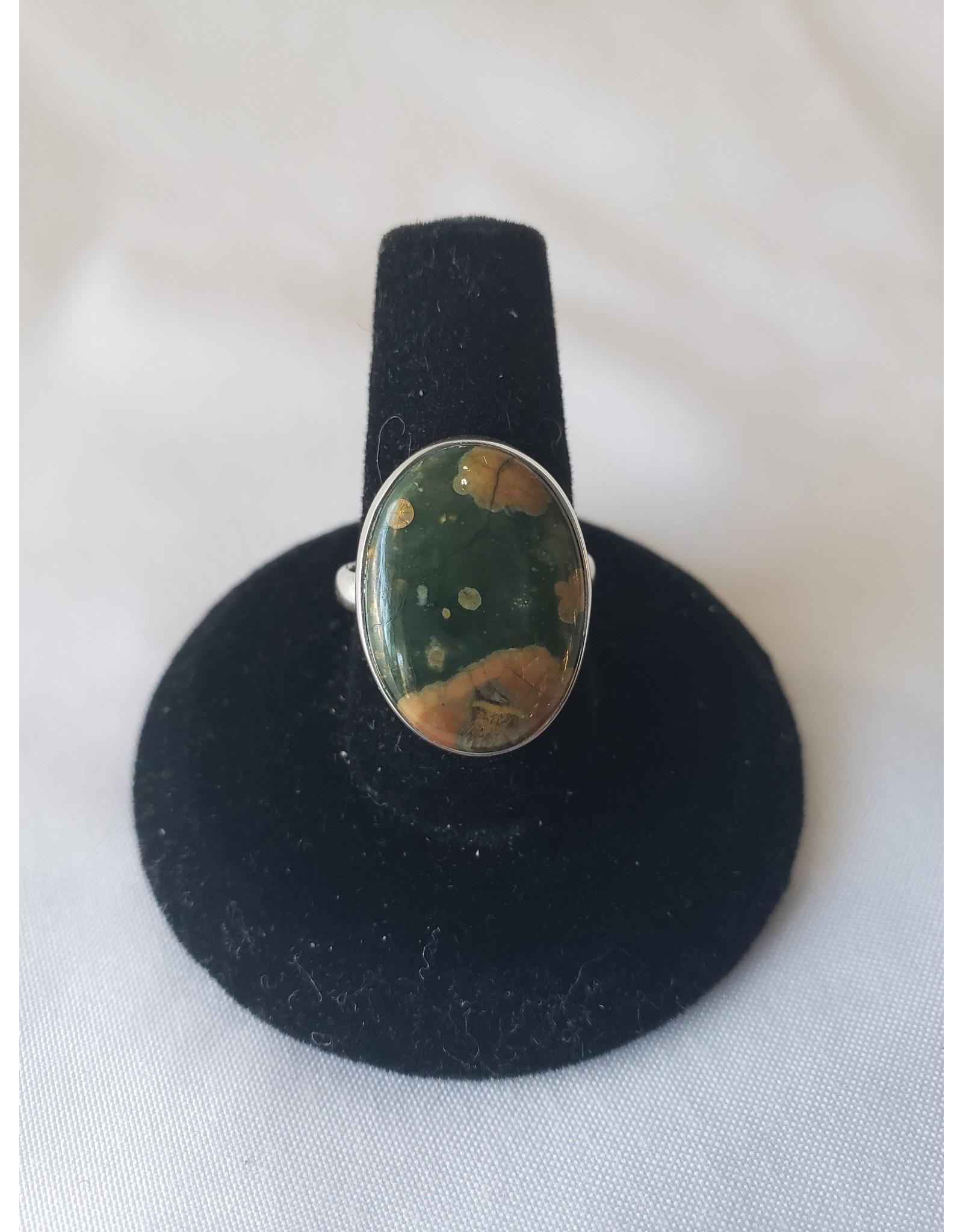 Sterling Silver - Raindrop Rainforest Jasper Ring Size 6