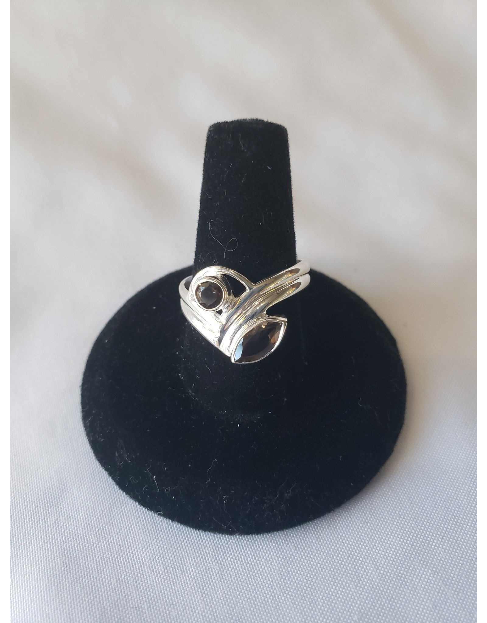 Sterling Silver - Double Smoky Quartz Ring Size 7
