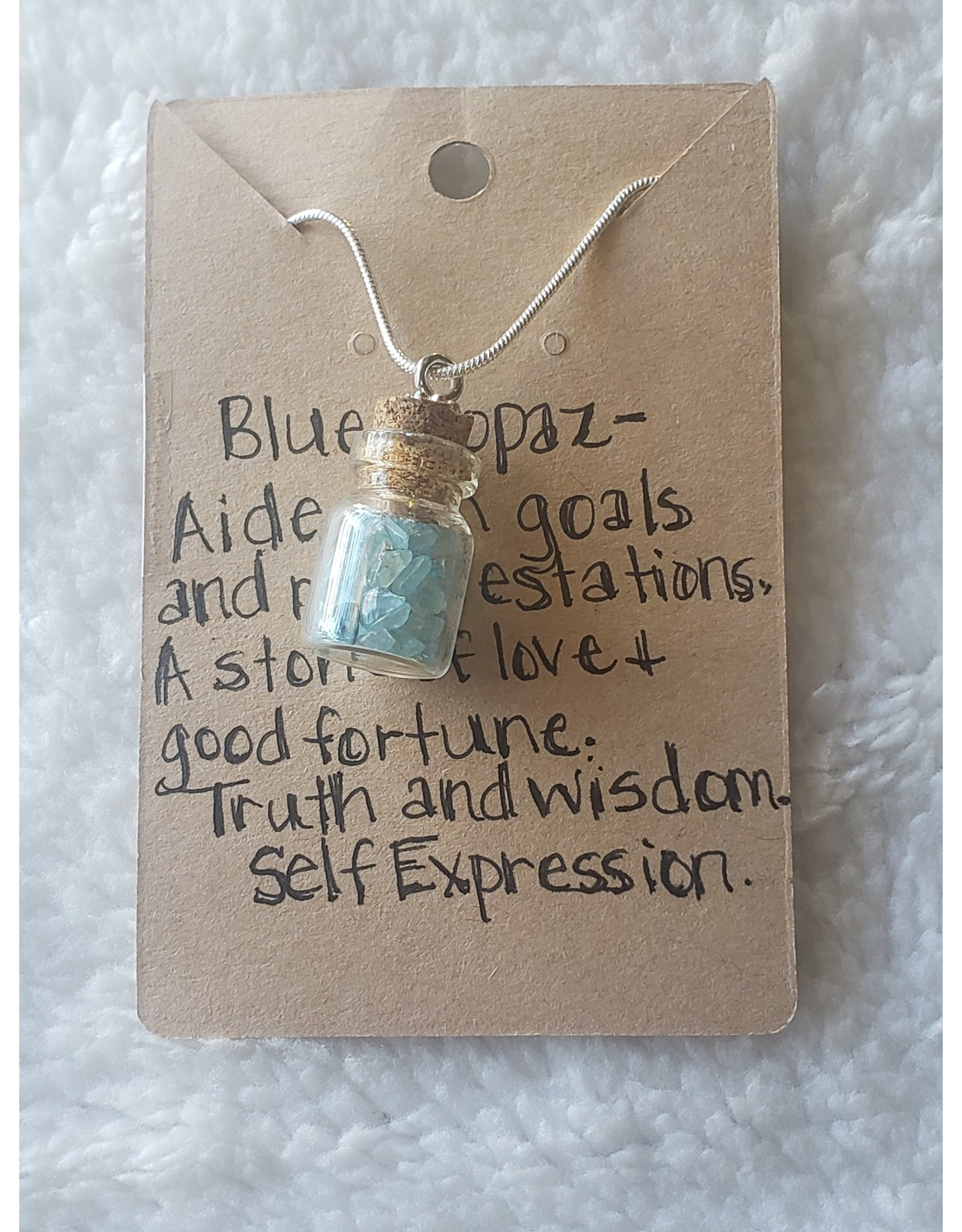 Angel Vaughan Mini Blue Topaz Bottle Necklace