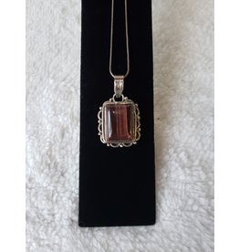 Square Red Tiger Eye Necklace