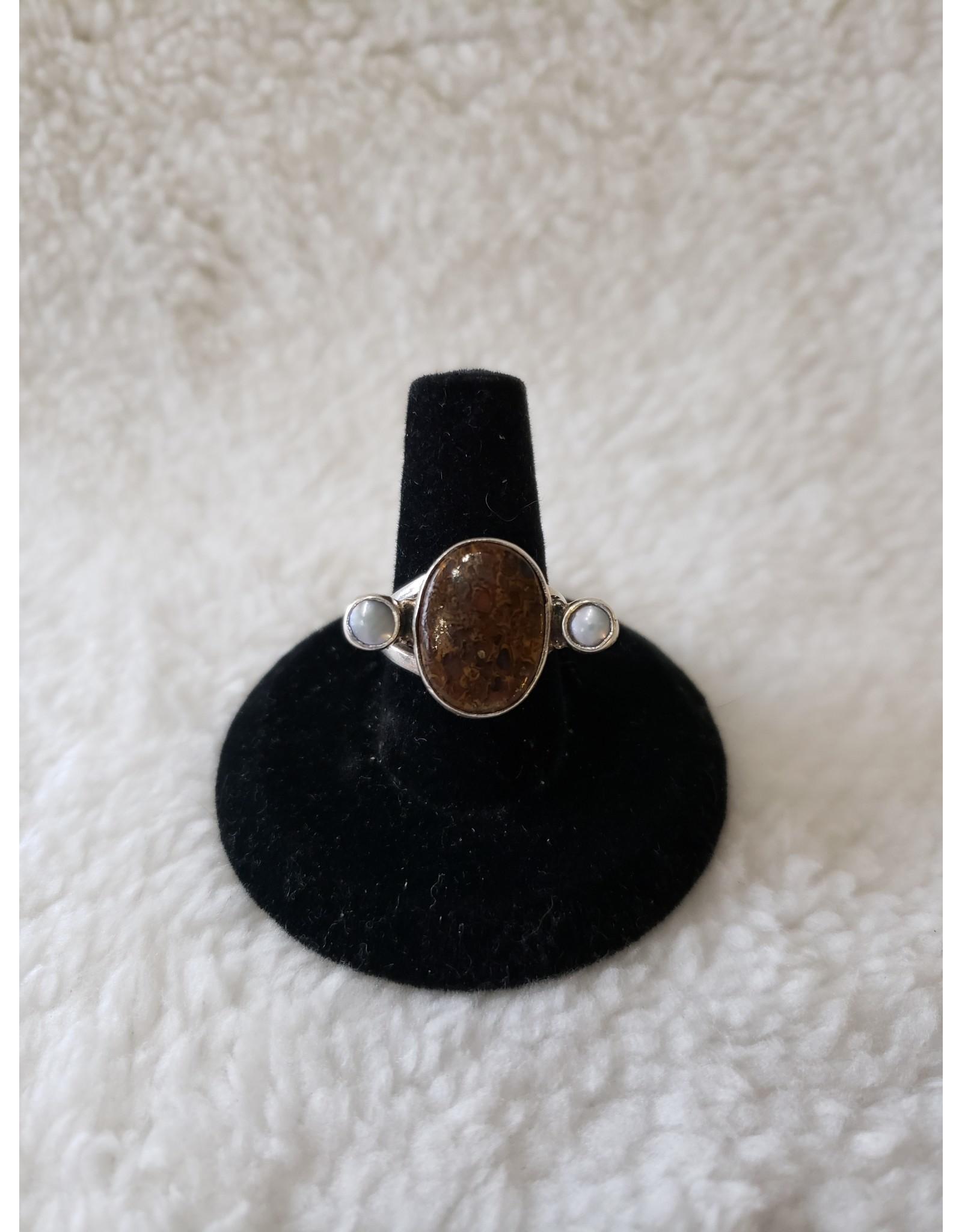 Jasper & Pearl Ring Sz. 6.5