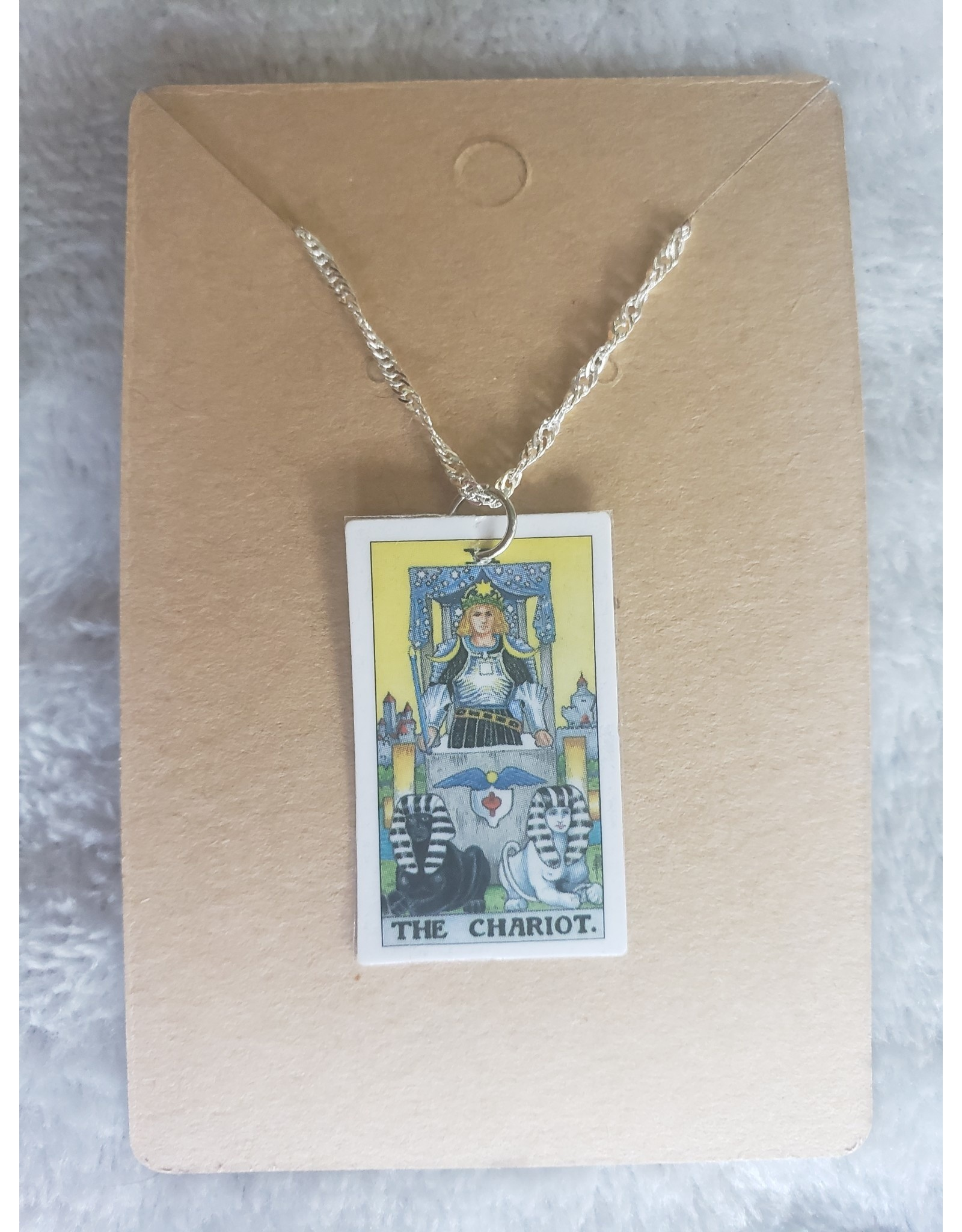 Angel Vaughan The Chariot Tiny Tarot Necklace