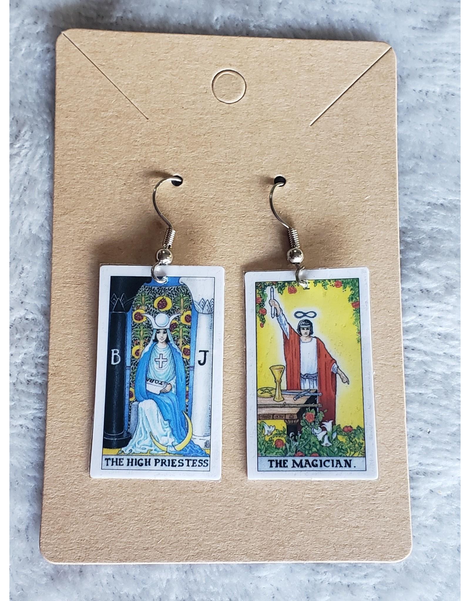 Angel Vaughan The High Priestess and The Magician Tiny Tarot Earrings