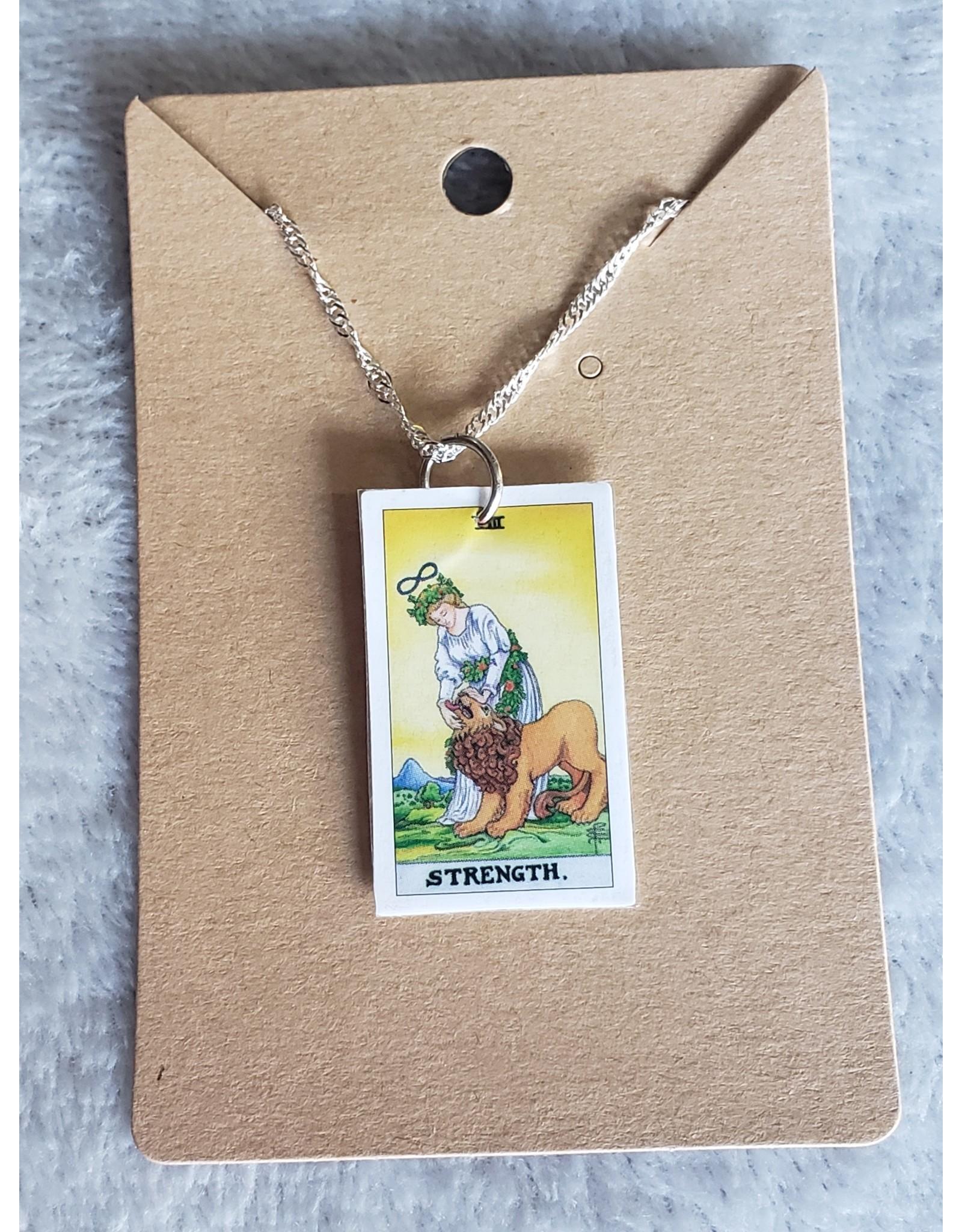 Angel Vaughan Strength Tiny Tarot Necklace