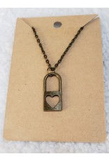 Angel Vaughan Brass Heart Lock Necklace