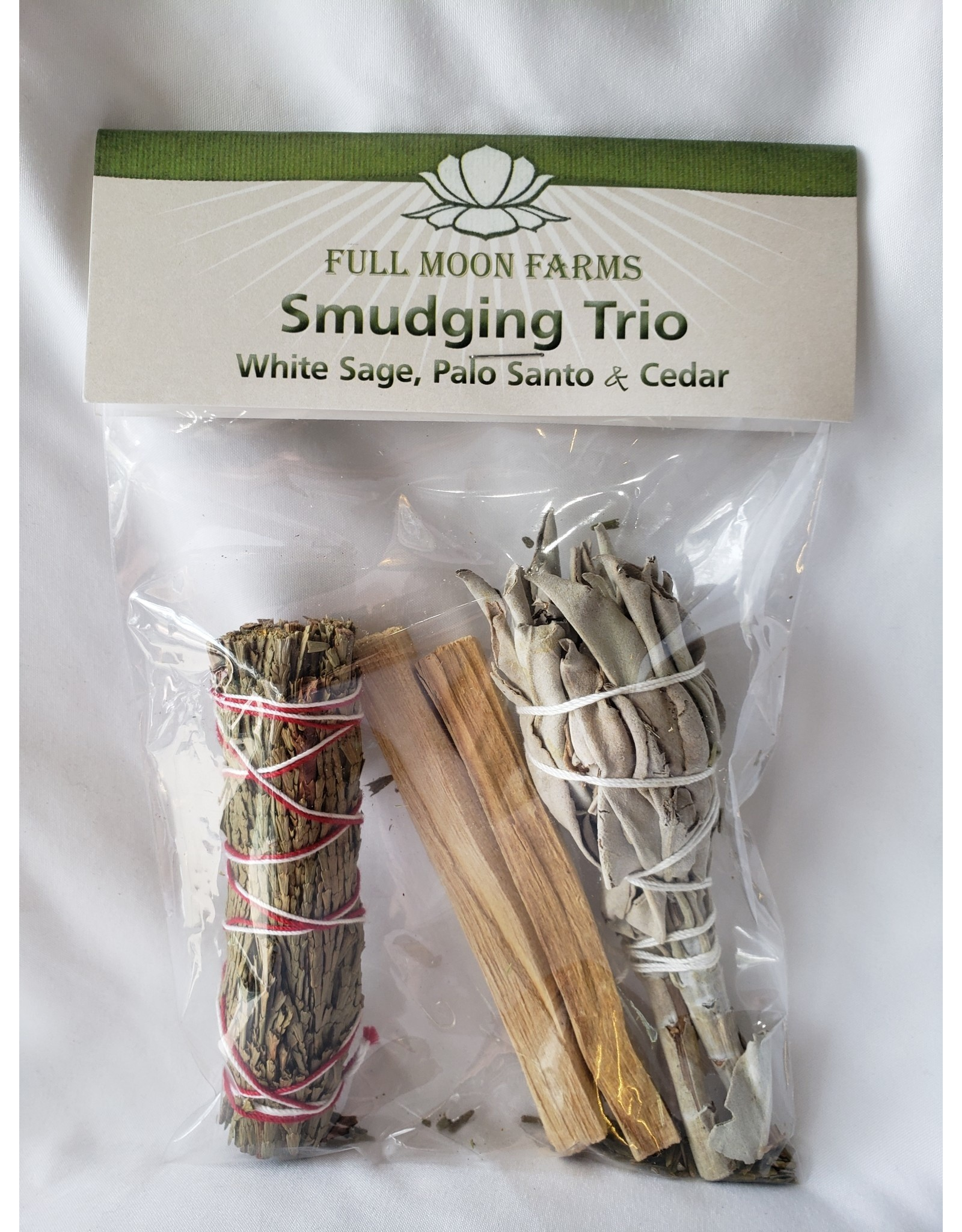 Full Moons Farms Smudging Trio | White Sage, Cedar & Palo Santo