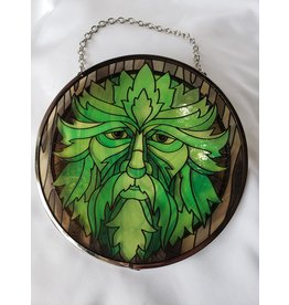 "Glass Suncatcher 6"" - Green Man"