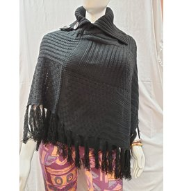 Cable Knit Poncho With Tassels - Black