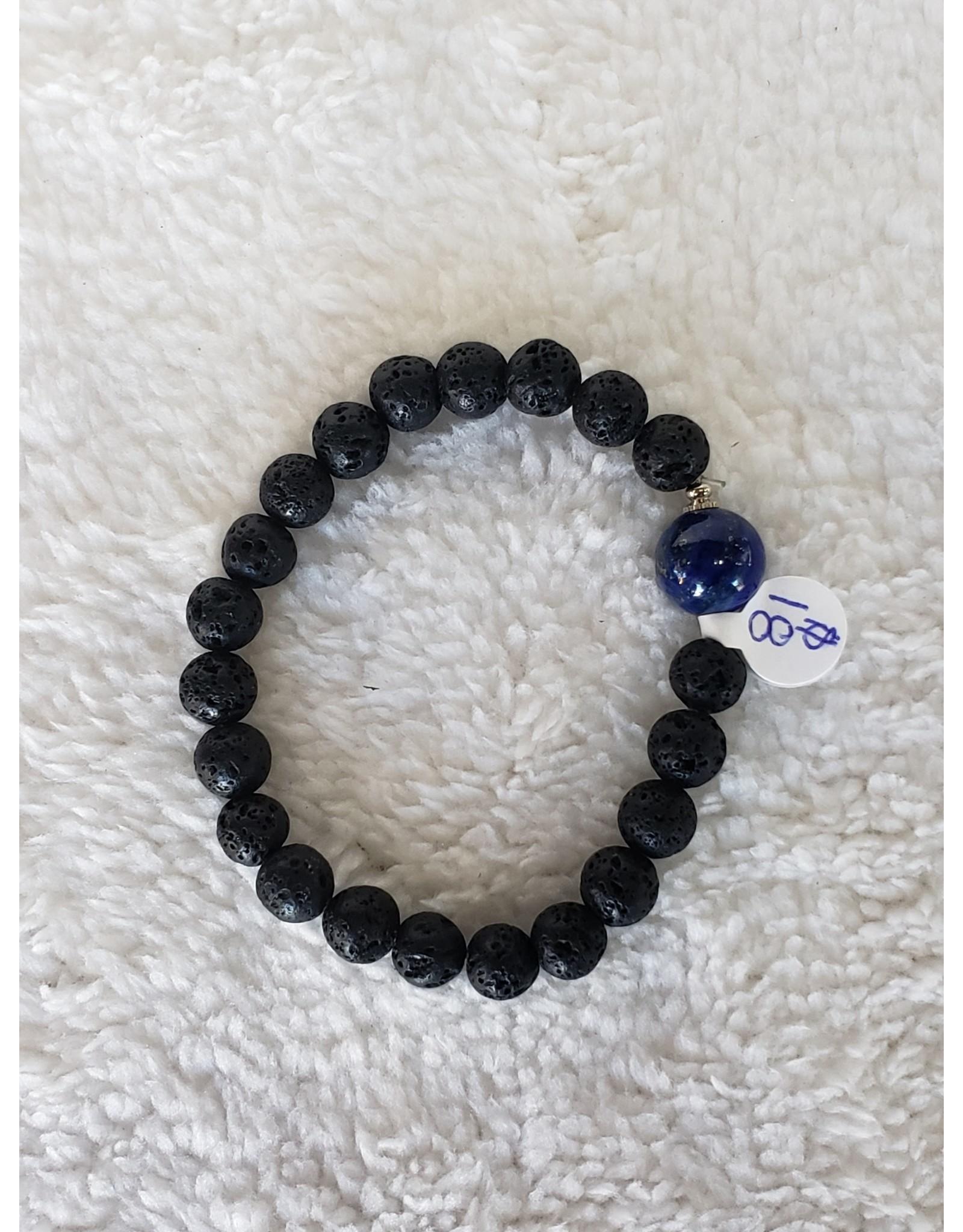 Aomatherapy Lava Stone Stretch Bracelet - Lapis Lazuli