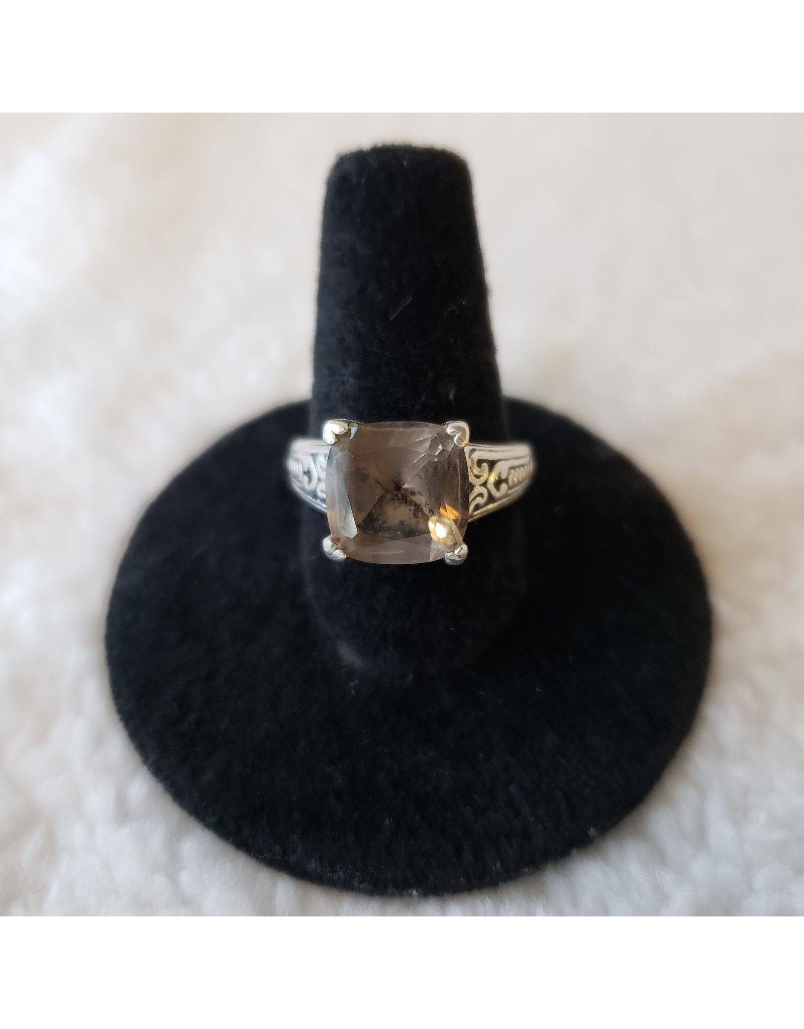 Large Faceted Smoky Quartz Ring - Size 7
