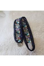 Multi Stone Bracelet w/ Flower Clasp