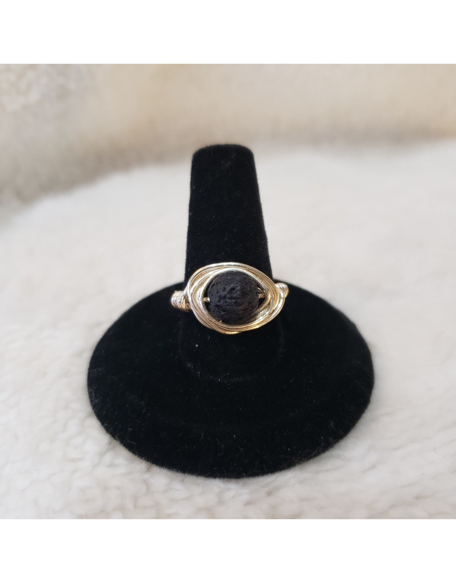 Angel Vaughan Lava Stone Wire RIng