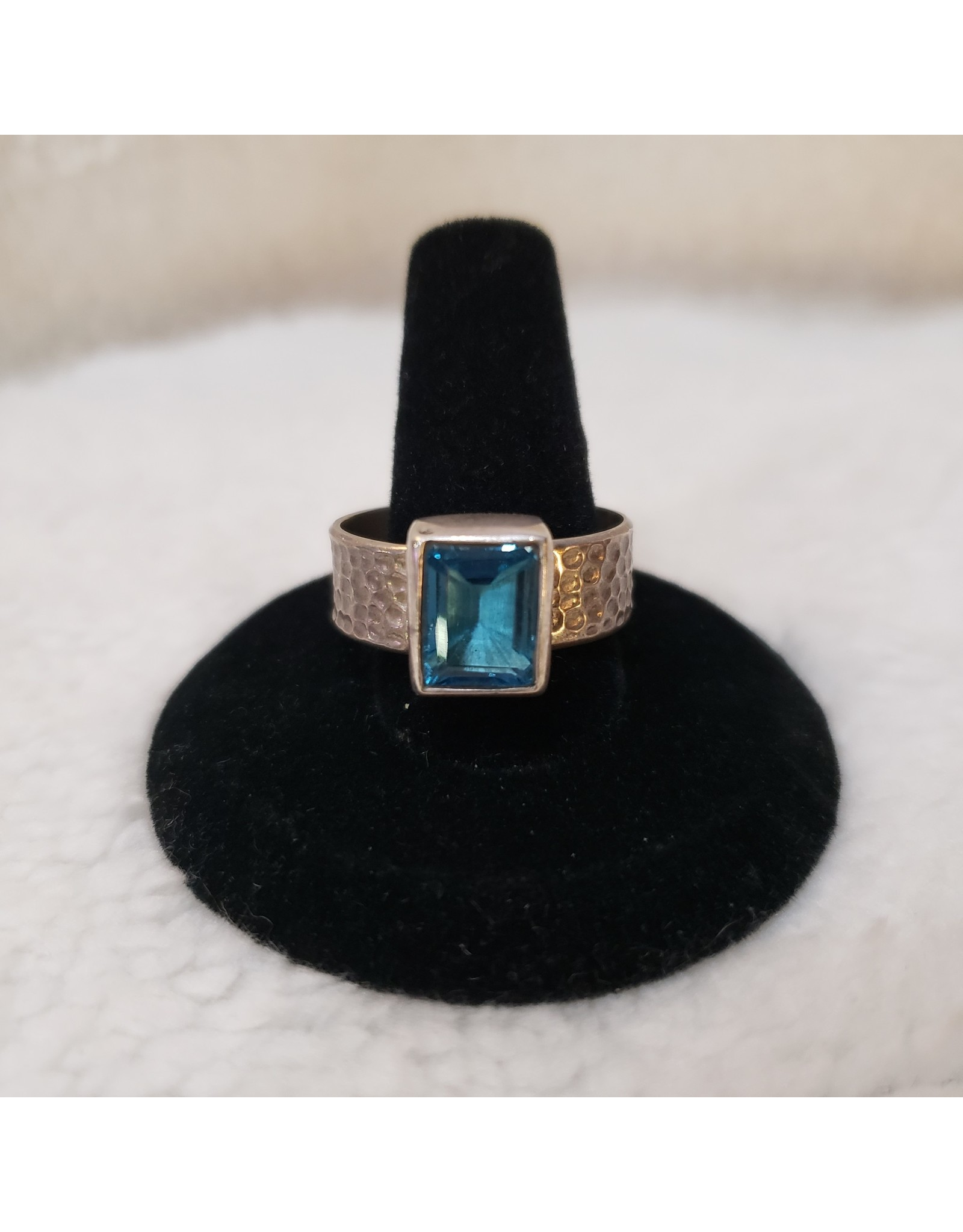 Square Blue Topaz Ring