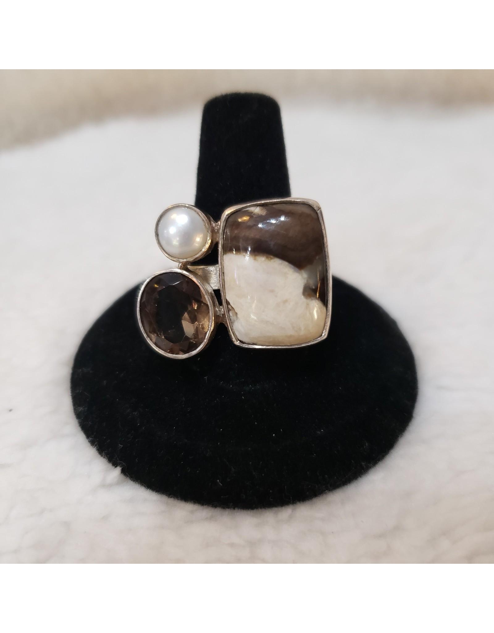 Sanchi and Filia P Designs Peanut Wood & Smoky Quartz Ring